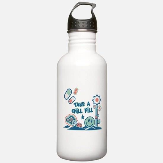 Chill Pill Retro Collage Desi Water Bottle