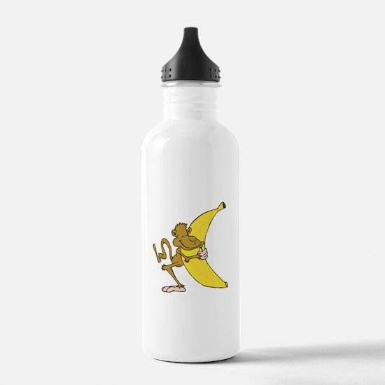 Silly Monkey Hugging Banana Sports Water Bottle