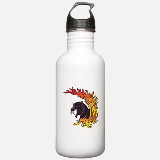 Black Panther & Flames/Fire D Sports Water Bottle