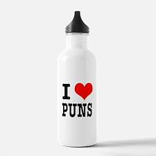 I Heart (Love) Puns Water Bottle