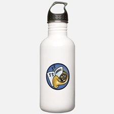 Tuba and Sheet Music Circle D Water Bottle