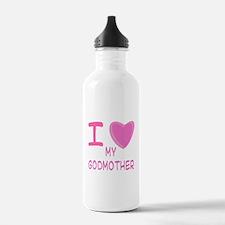 Pink I Heart (Love) Godmother Water Bottle