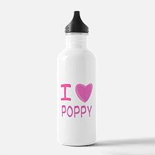 Pink I Heart (Love) Poppy Water Bottle