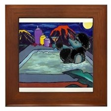 Black Pampered Poodle Framed Tile