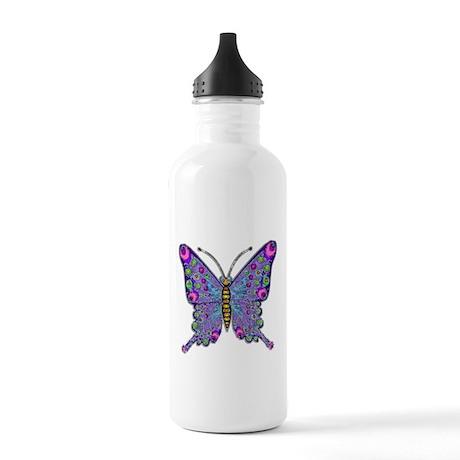 Funky Purple Butterfly Stainless Water Bottle 1.0L