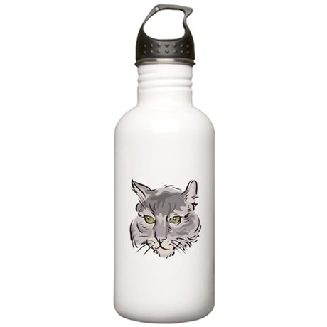 Cute Grey Cat Face Stainless Water Bottle 1.0L