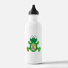 Pink Awareness Ribbon Frog Water Bottle