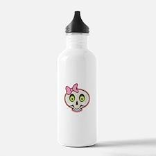 Cute Pink Girl Skull Face Water Bottle