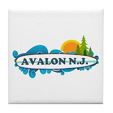 Avalon NJ - Surf Design Tile Coaster