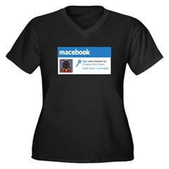 Macebook Women's Plus Size V-Neck Dark T-Shirt