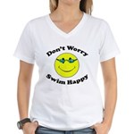 Don't Worry Swim Happy Women's V-Neck T-Shirt