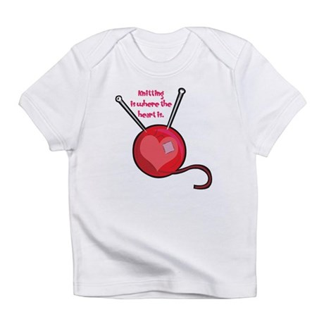 Knitting is Where the Heart I Infant T-Shirt