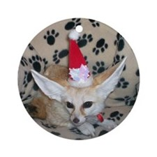 Holiday Zoey, Fennec Fox Ornament (Round)