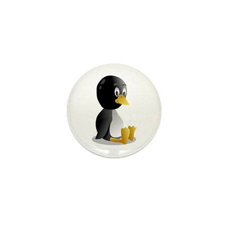 Penquin cartoon sitting Mini Button (10 pack)