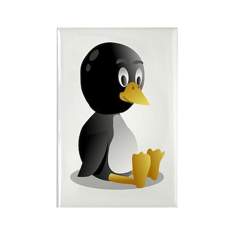 Penquin cartoon sitting Rectangle Magnet (10 pack)