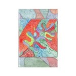 Multicolor Oak Leaf Art Rectangle Magnet
