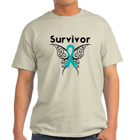 Ovarian Cancer Butterfly-Surv Light T-Shirt