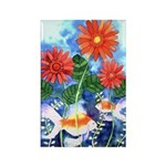 Fish and Flowers Art Rectangle Magnet
