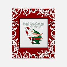 Naughty Elf Throw Blanket