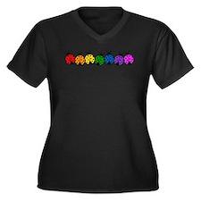 Ladybugs Women's Plus Size V-Neck Dark T-Shirt