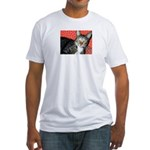 Polkadot Puss Tabby Cat Fitted T-Shirt