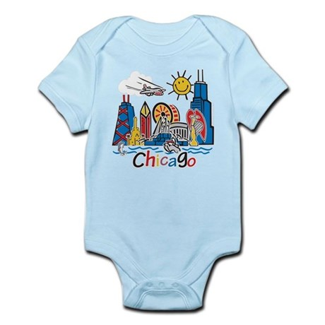 Chicago Cute Kids Skyline Infant Bodysuit