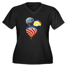 3 Hot Air Balloons Women's Plus Size V-Neck Dark T