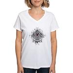 Myeloma Faith Family Cross Women's V-Neck T-Shirt