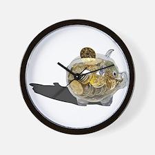 Piggy Bank Gold Coins Wall Clock