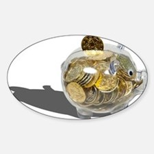 Piggy Bank Gold Coins Sticker (Oval)