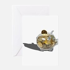 Piggy Bank Gold Coins Greeting Card