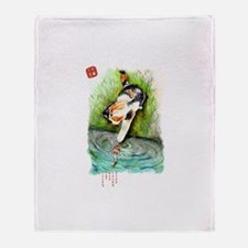 Lucky Cat and Lucky Fish Throw Blanket