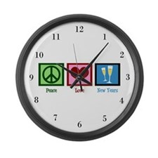 Peace Love New Years Large Wall Clock