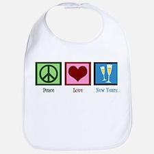 Peace Love New Years Bib