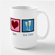 Peace Love New Years Large Mug