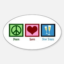 Peace Love New Years Sticker (Oval)