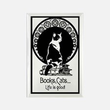 Books,Cats,Life is good Rectangle Magnet
