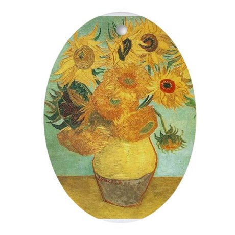 Van Gogh's Sunflower Ornament (Oval)