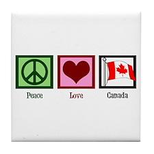 Peace Love Canada Tile Coaster