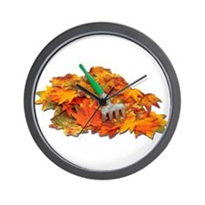 Rake Fall Leaves Wall Clock
