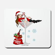 Santa Girl Martini Mousepad