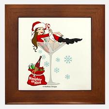 Santa Girl Martini Framed Tile