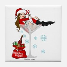 Santa Girl Martini Tile Coaster