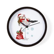 Santa Girl Martini Wall Clock