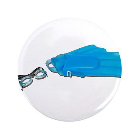 "Swim Goggles Flippers 3.5"" Button"