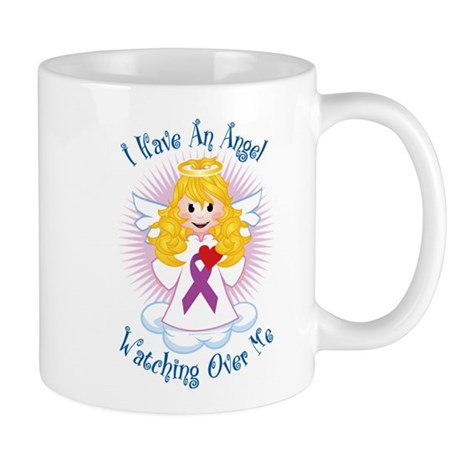 Angel Watching Purple Ribbon Mug