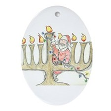 Santa Mennorah Ornament (Oval)