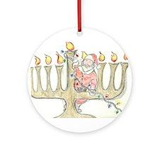 Santa Mennorah Ornament (Round)
