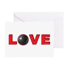 Bowling Love 3 Greeting Cards (Pk of 20)