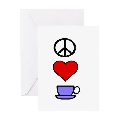 Peace Love Coffee 2 Greeting Card
